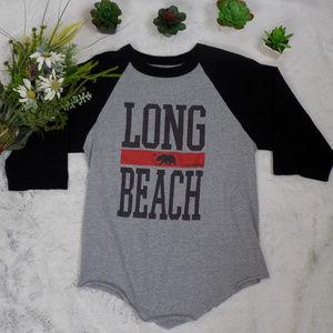 California Long Beach Raglan Style graphic tee